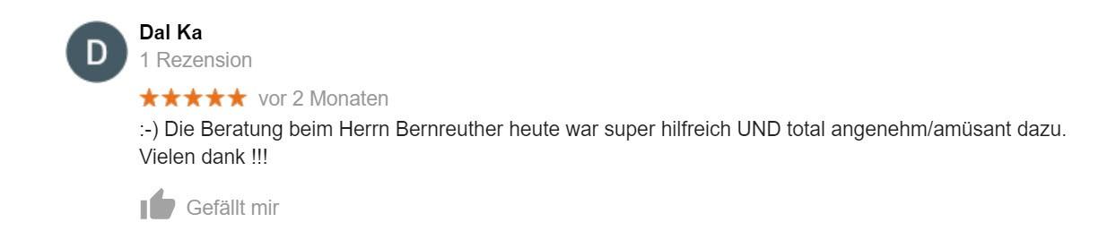 Google Bewertung Rechtsanwalt Bernreuhter